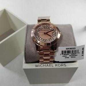 Michael Kors Rose Gold Diamond Stone Watch